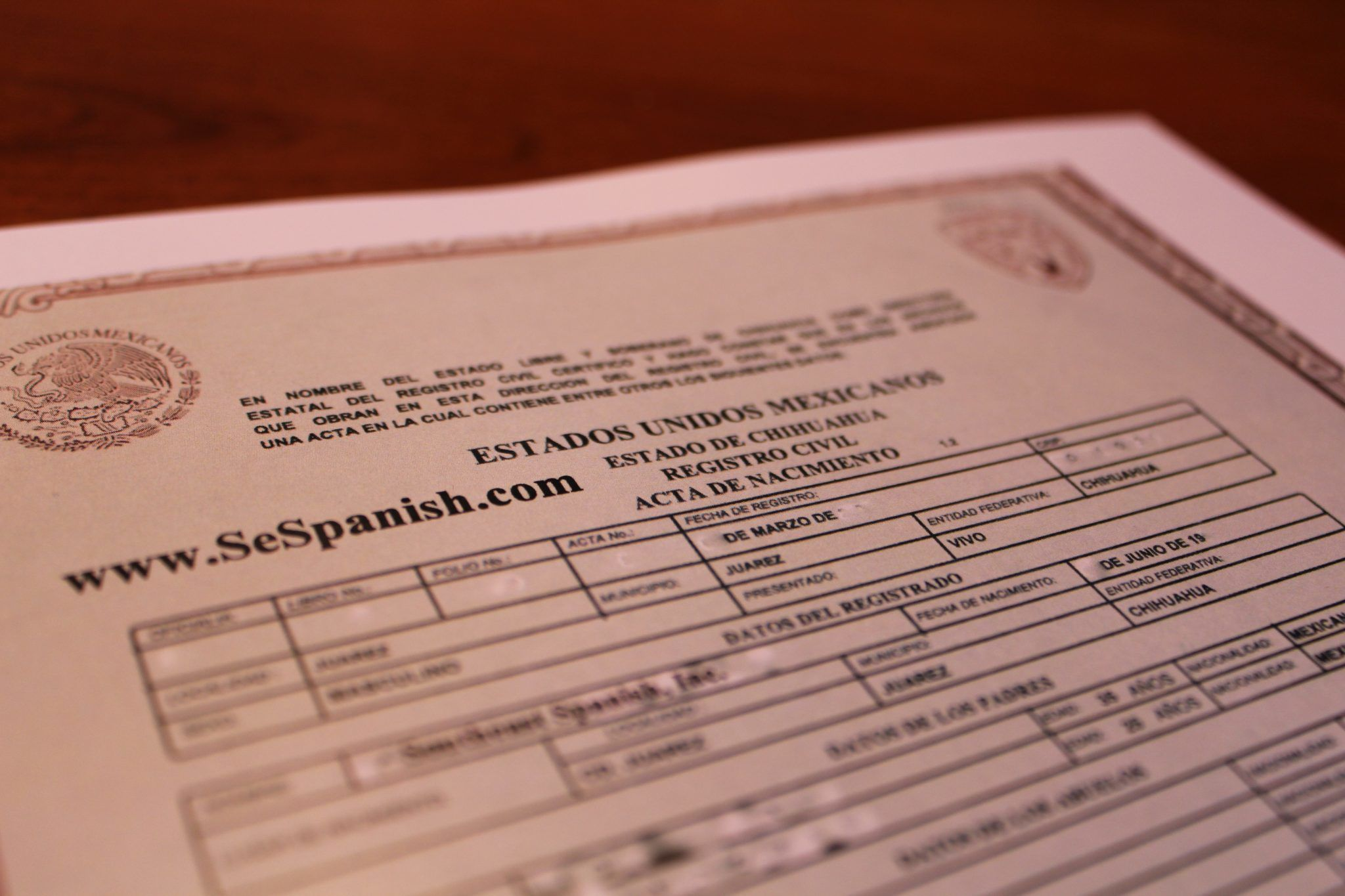 sample of mexican birth certificate translation from spanish
